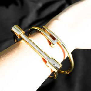 14k Gold Plated Screw Bar Bangle Bracelet